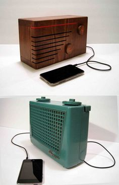 Los-Angeles-based electrician and artist Devin Ward takes old tube-amp radios, refurbishes them, and wires in a minijack connection so you can plug in your iDevice