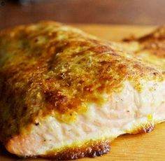 Oven roasted salmon with Parmesan mayonnaise crust.