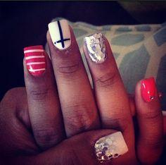 Nails, acrylic nails, nail design, nail design 2013, cross, style, beauty, womens style, unique nails.