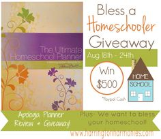 Two Giveaways in One! Apologia Planner  Review and Giveaway and Bless a Homeschooler $500 in cash! | Harrington Harmonies