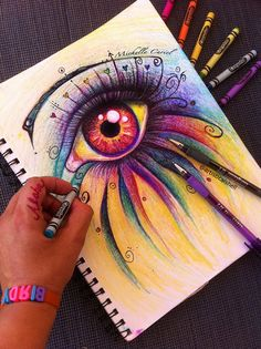 Eye have passion  Original ART 8x10 on 11x14 mat by michellecuriel, $79.99 Great idea for first week lesson   Students can draw what they have a passion for in the eye. Would render great art for the wall for open house.