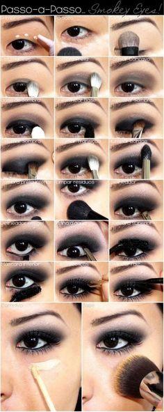 23 Gorgeous Eye Makeup Tutorials  : Beautifully Dramatic Eye dark eyes, eyeshadow, beauti, eyemakeup, smokey eye, hair, black, eye makeup tutorials, hooded eyes