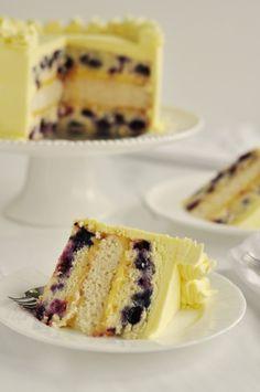 Triple Lemon-Blueberry Layer Cake. Lovely summer cake.