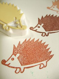 hedgehog hand carved rubber stamp - handmade rubber stamp - forest animal. $9.00, via Etsy.