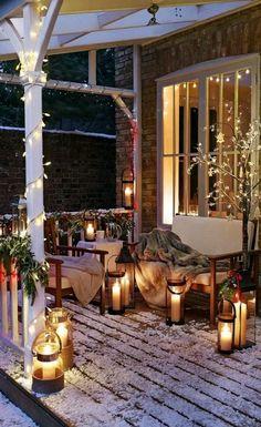 Beautiful Winter decor, winter, candles, hous, back porches, lanterns, light, christmas porch, front porches