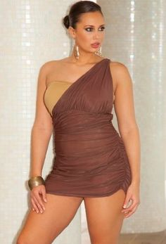 Infinity Blu Bronze One Shoulder Swimdress Plus Size Swimwear