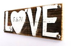 Wedding Sign with Wedding Anniversary Date on Reclaimed Wood on Etsy, $25.00