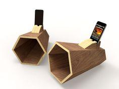 "Ampli Iphone ""Hexaphone sur mesure en bois"