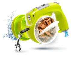 The ultimate retractable 16 ft travel leash has all the features you need: A pop up water bowl; treat/food compartment; waste bag dispenser with bags included; LED flashlight; LCD Time/Date clock .