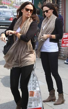 cropped black jacket + casual white tank + oatmeal scarf + skinny jeans + tan boots