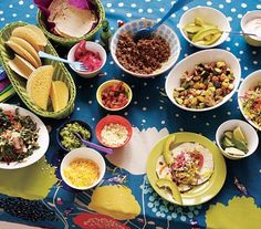Family-friendly taco bar ideas with recipes.