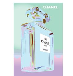 Vintage Poster - Chanel No. 5 - Parfum - Perfume - Paris - Pink - Blue - Pastel - Luxury - Pop Art - As seen on The Block Sky High