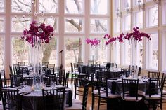 purple and silver wedding centerpieces