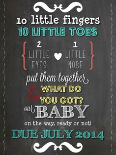 Chalkboard Typography Pregnancy Announcement via THE LifeStyled COMPANY! Instant Download via Etsy $5!