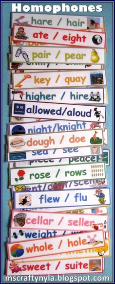 homophone word wall cards