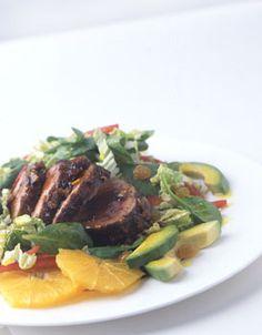 Island Pork Tenderloin Salad - I looove this, although I like to stir it all together. pork tenderloin, chicken salad, salad recipes, food, island pork, salaaad, islands, salads, tenderloin salad