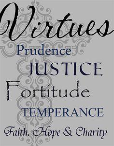 "Custom Designed Christian Virtues 11"" x 14"" Wood Snap Wood Canvas Print - #signsbyandrea #customdesign #customart #virtues #Christianart #cross"