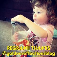 Thanks @goldenreflectionsblog for permission to regram! Pom Poms into a soda/tea bottle! So easy and engaging! #pediOT, - - click on pin for more!    - Like our instagram posts?  Please follow us there at instagram.com/pediastaff