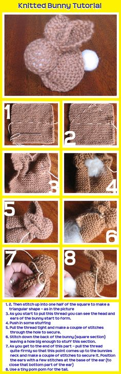 To make for Easter basket. A more decorative stitch pattern would be fun.   Knitted Bunny Tutorial made from a knitted square – any size is fine. From Jo So and Sew