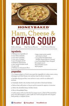 HoneyBaked Ham, Cheese & Potato Soup #HoneyBaked #Ham #Potato #Soup #Recipe  www.HoneyBaked.com