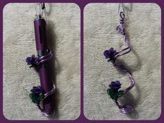 twisted purple floral wire with purple sparkling polymer clay roses e-cig holder - You can find all your smoking accessories right here on Santa Monica #ECigs #Teagardins #SmokeShop