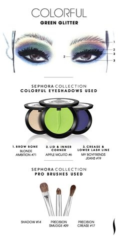 COLORFUL: Green Glitter HOW TO. #sephoracollection #sephora #makeup #eyeshadow