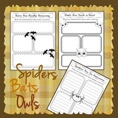 Perfect for fall ... three FREE research organizers from The Library Patch. Record four interesting facts about Spiders, Bats, and Owls.