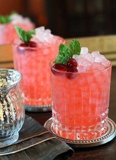 Cranberry Ginger Fizz Cocktail.