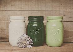 Painted mason jars. St Patrick's day decor. Green jars.  by StyleJarsandCans, $26.00
