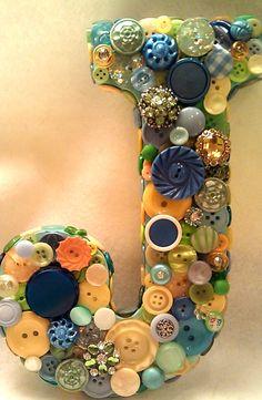CUSTOM 9 Button Initial  Green Yellow & by allbuttonedupbytina, $35.00