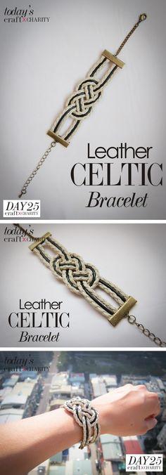 Leather Celtic Knot Bracelet Pourrait aussi être fait avec les tresses de Kumihimo Celtic Bracelets, Celtic Knot Bracelets, Celtic Knot Diy, Celtic Knots Tutorials, Celtic Crafts, Celtic Diy, Celtic Knots Bracelets, 365 Crafts, Leather Celtic