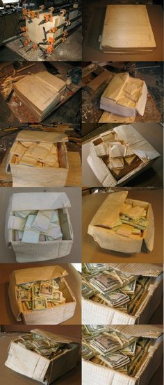 How artist Randall Rosenthal turns a block of wood into a box full of cash - Imgur