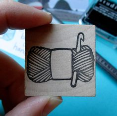Skein of Yarn With Crochet Hook Hand Carved Stamp