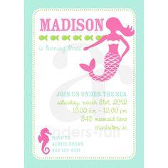 Mermaid Under the Sea Birthday Party Printable Invitation - Pink and Aqua