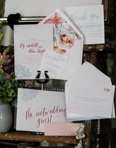 colorful wedding invitations, photo by Modern Wedding Photography http://ruffledblog.com/notwedding-nyc #stationery #weddinginvitations