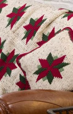 Free Christmas Poinsettia Afghan and Pillow Crochet Pattern