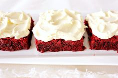 Red velvet brownies with white frosting all homemade!