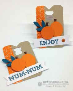 """Oh Goodie! Stamp Set, 3/4"""" Circle Punch  and Small Oval Punch to create the pumpkins.  Bird Builder Punch for the leaves. Made in a snap with the Stampin' Up! Pumpkin Pie Goodie Gear Simply Created Kit (132792). goodie bag halloween treats cello bag Bermuda Bay for blue accents."""