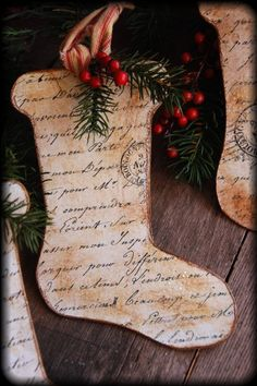 Elegant ornaments.  Could make these using any cookie cutter for shape & old sheet music printed on cardstock or copies of old letters from genealogy files. christma stock, diy christma, paper ornaments, old letters, stock ornament, sheet music, christmas stockings, holiday idea, christma craft