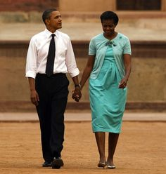 Mrs Obama wearing custom Peter Som.