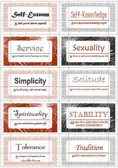 Motivational Interviewing's 100 values cards (S-T). Print out on Avery business cards to help clients define and prioritize their values.