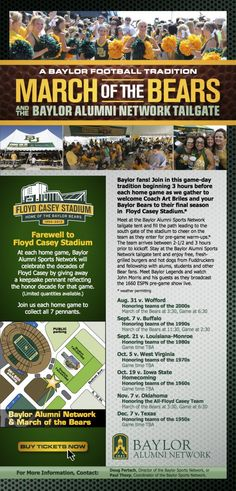 Show up early for the final season at Floyd Casey Stadium for the March of the Bears! #SicEm #Baylor