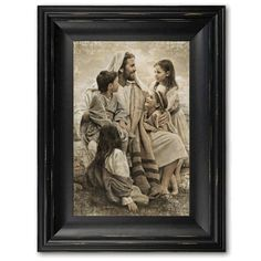 This beautiful piece of LDS artwork depicts Jesus Christ holding children. One of the classic setting where the savior is joyously playing with children. Artist: Del Parson Framing: These high-quality frames truly add value to the piece of art.