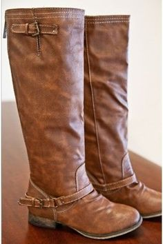 I love these brown leather riding boots ♥ similar ones for $44 at @SPARKTREND! click the image to see. #womens #fashion #boots #shoes