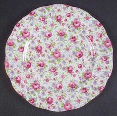 """""""Briar Rose"""" china pattern with pink chintz floral motif from Royal Albert.  So sweet"""