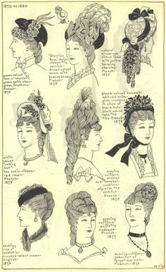 1870 - 1880    The Mode in Hats and Headdress: A Historical Survey with 198 PlatesBy R. Turner Wilcox