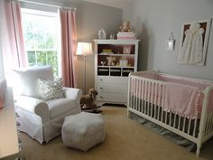 soft gray and pink nursery colors.