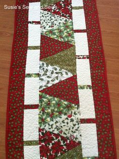 Christmas Holiday Quilted Table Runner by SusiesSewAndSews on Etsy, $30.00