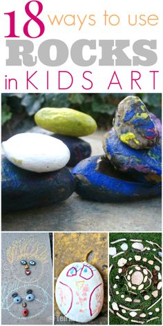 Rocks as art material? So fun (and inexpensive)! Lots of ways to use rocks in kids art...