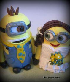 Wedding Cake Topper, Custom Cake Topper, Minion Cake Topper, Polymer Clay Keepsake, Minions. $180.00, via Etsy.